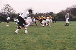 HEAD START: Members of the Orpington Exiles� American Football Club in action last season