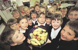Pupils show off some of their fruit