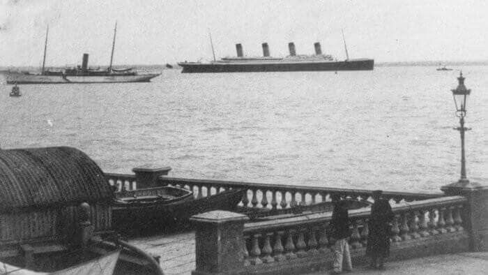 The Titanic passing Cowes, Isle of Wight, on April 10 1912.
