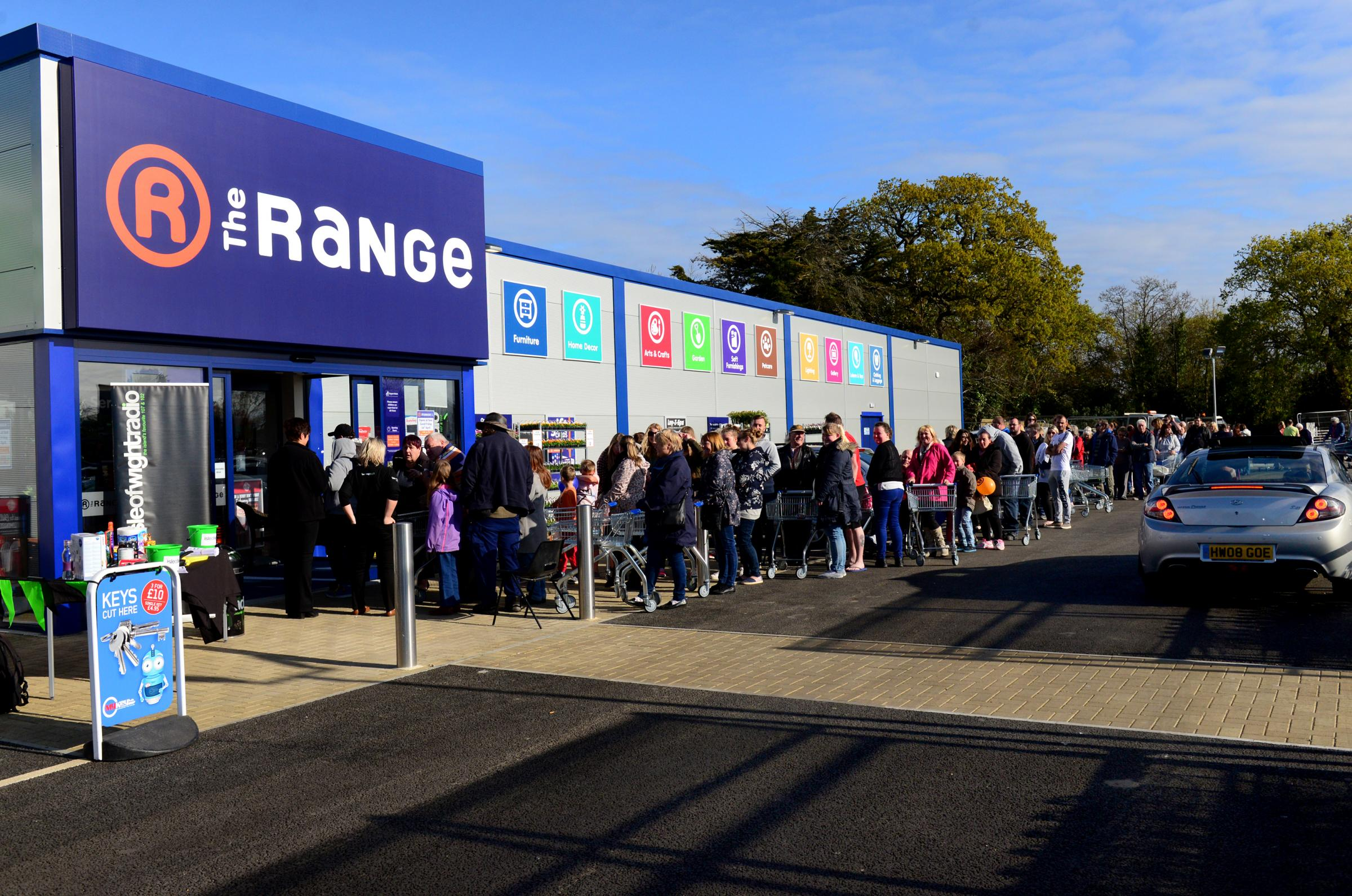 Shoppers queuing outside The Range in Cowes when it first opened.