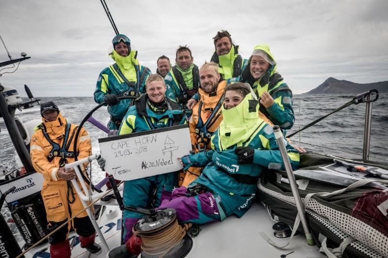Team AkzoNobel rounding Cape Horn, with Jules Salter, their navigator, fifth from left.  Photo: Team AkzoNobel
