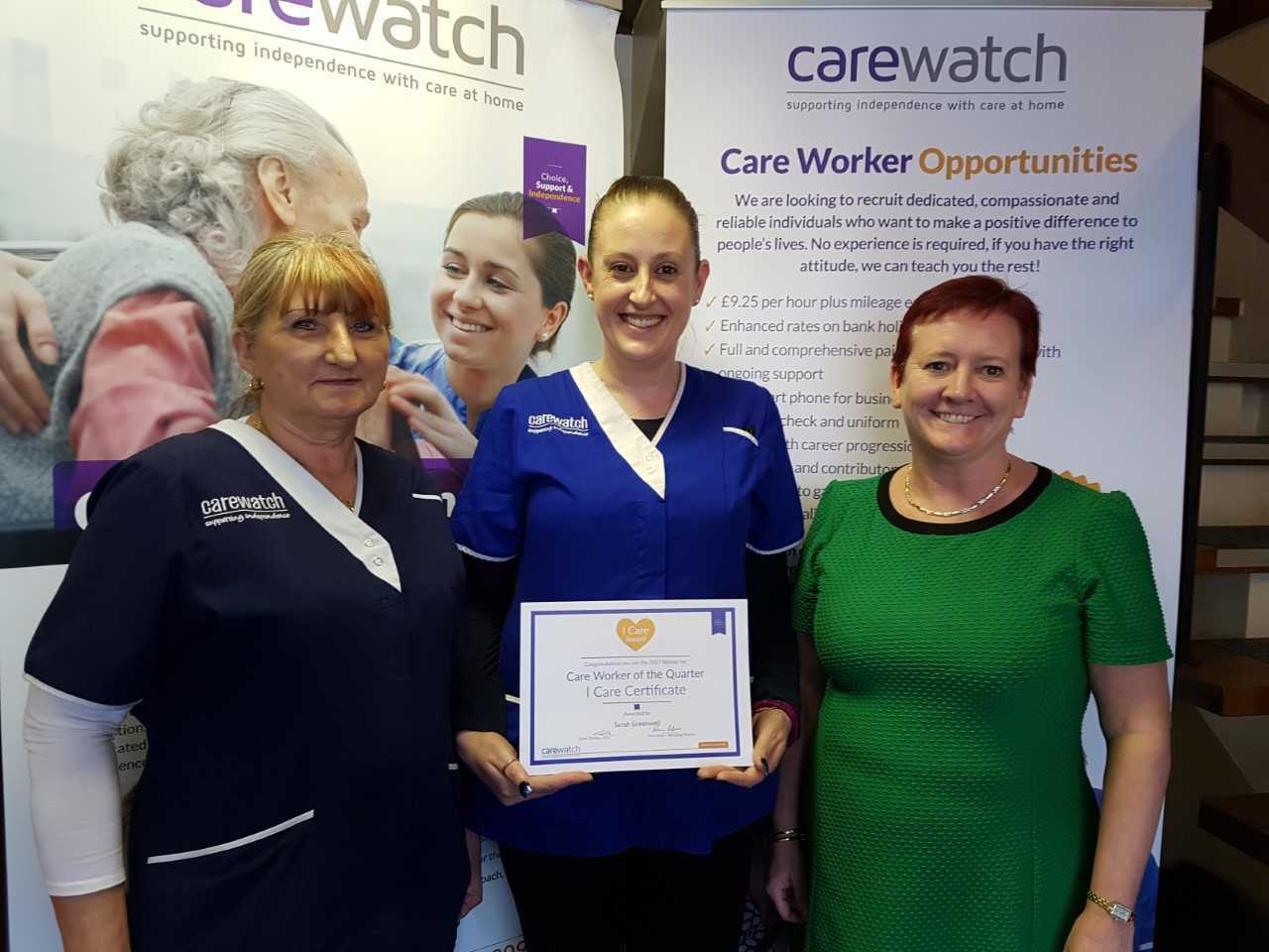 Sarah Greenwell with her I Care award.