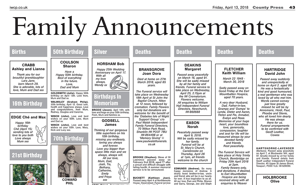 Family Announcements - Isle of Wight County Press, April 13