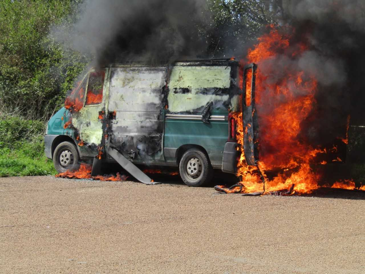 The van on fire in Freshwater. Photo by Phillip Hall.