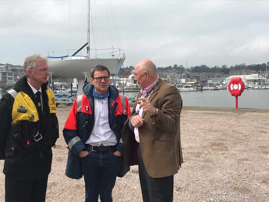 Cowes Harbour Commission chief executive Stuart McIntosh, Island MP Bob Seely, Wight Shipyard owner Peter Morton