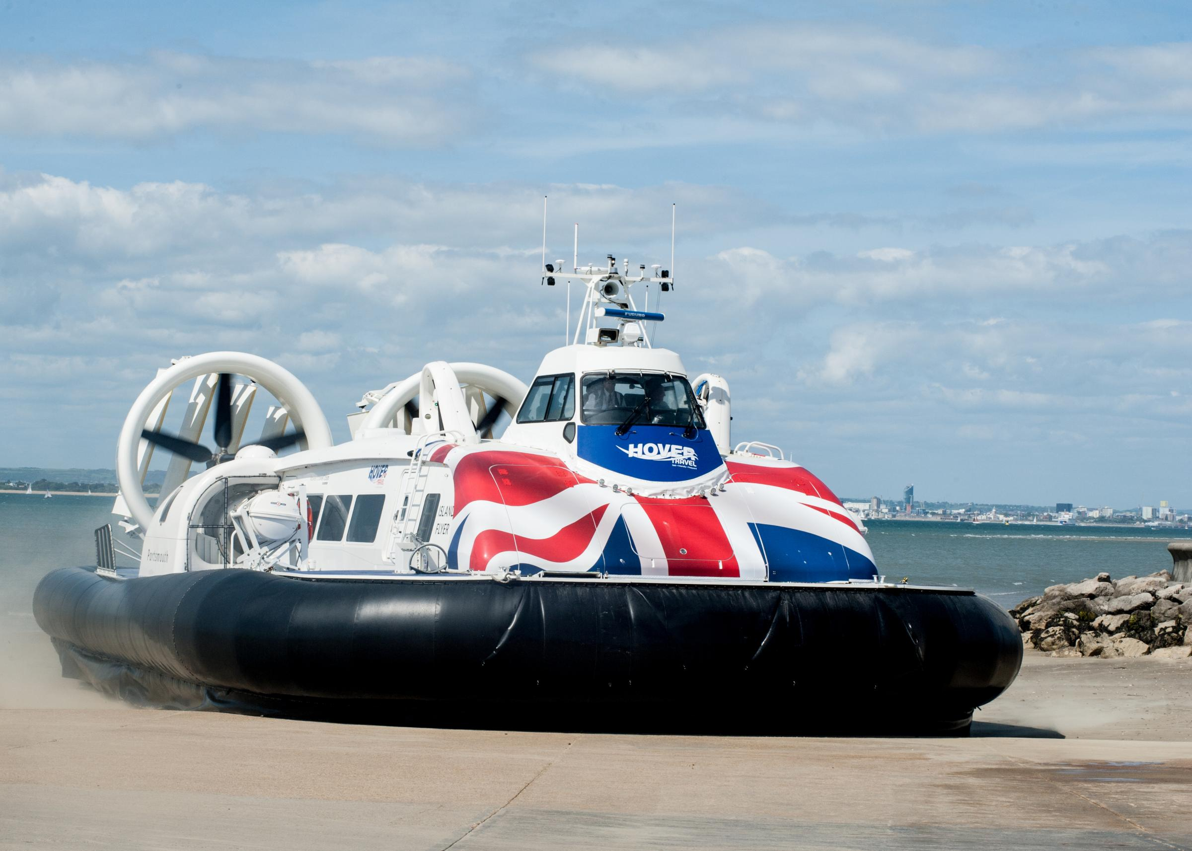 High winds disrupt Hovertravel services.