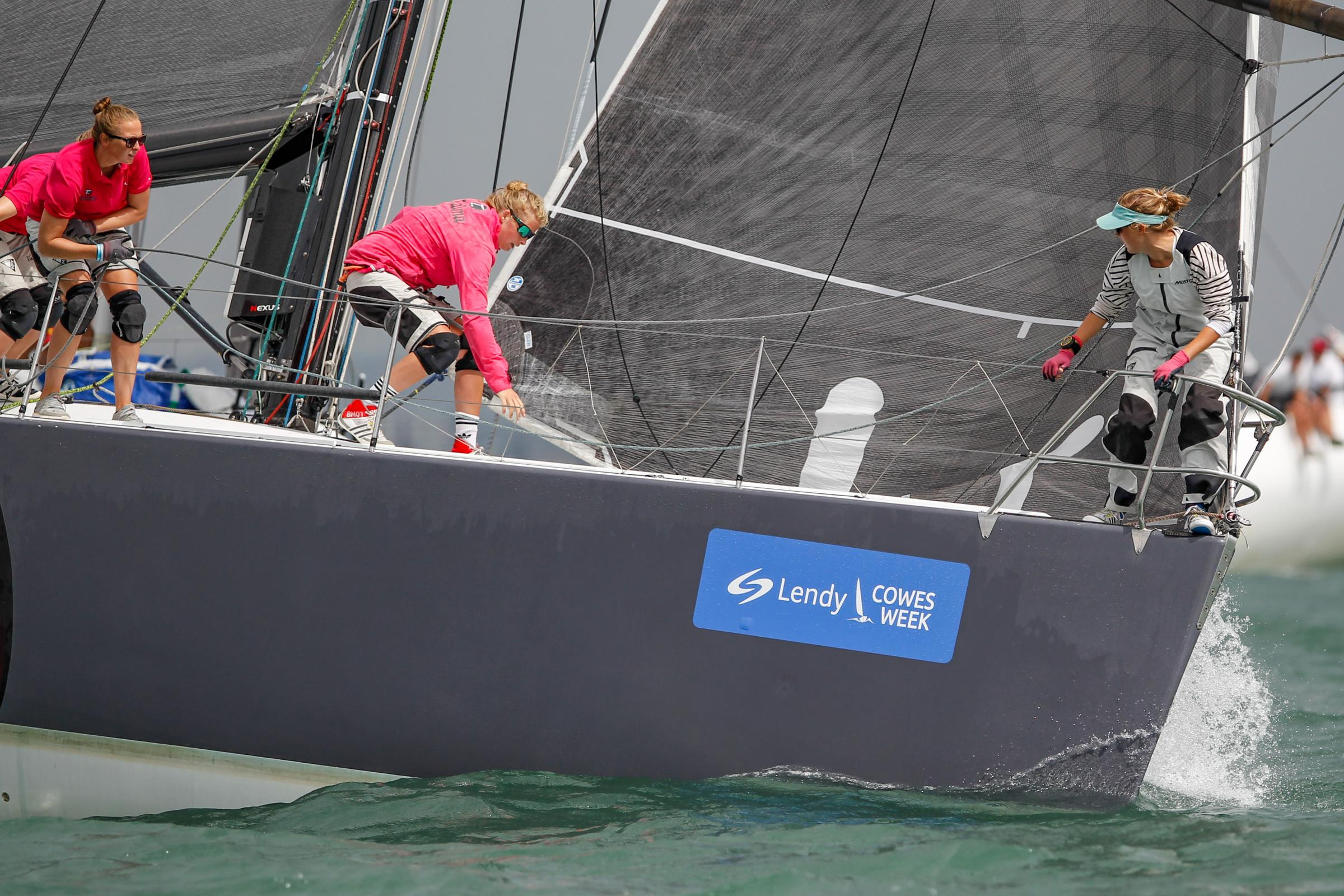 Action on board Tutima in IRC Class 1 during Ladies Day at Lendy Cowes Week. Photo: Paul Wyeth