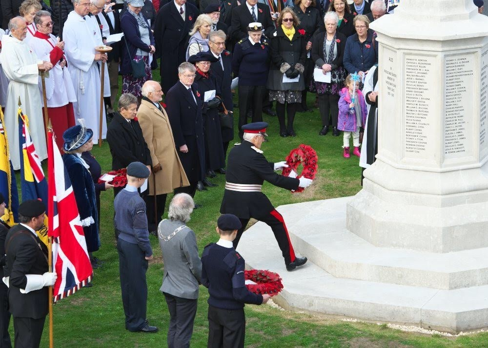 Rededication of the All Saints' War Memorial in Ryde. Isle of Wight Lord Lieutenant, Maj Gen Sir Martin White pictured laying a wreath at the event. Photo by Michael Dunkason.