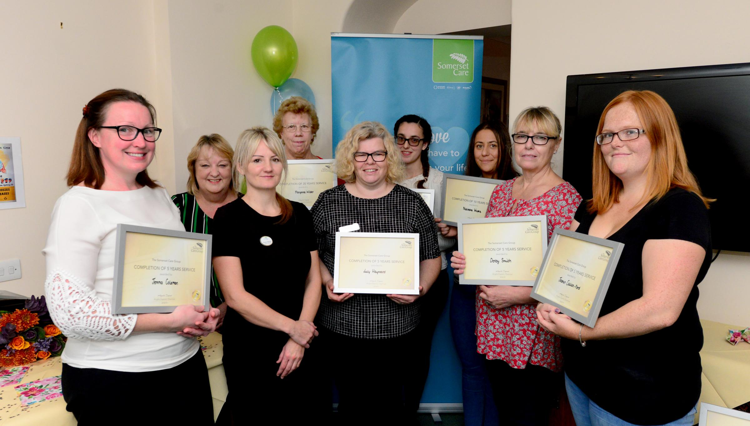 Bembridge - Staff at Inver House with their long service awards. Left, Jemma Coleman (five years), operations manager Diane Allen, Sheryl Beebee, Margaret Wilder (20 years), Lucy Hayward (five years), Kimberley Haygarth (five years), Natasha Watts (10 yea