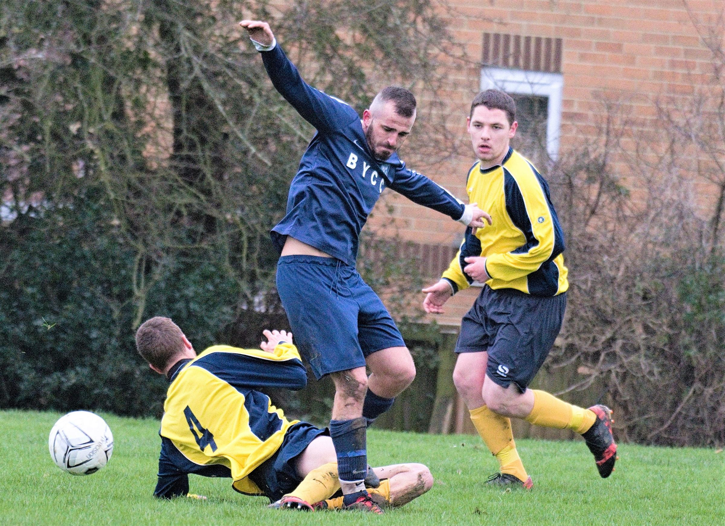 Action from the Isle of Wight Division 2 clash between Wroxall and Bembridge.  Photo: Andrew Cooper