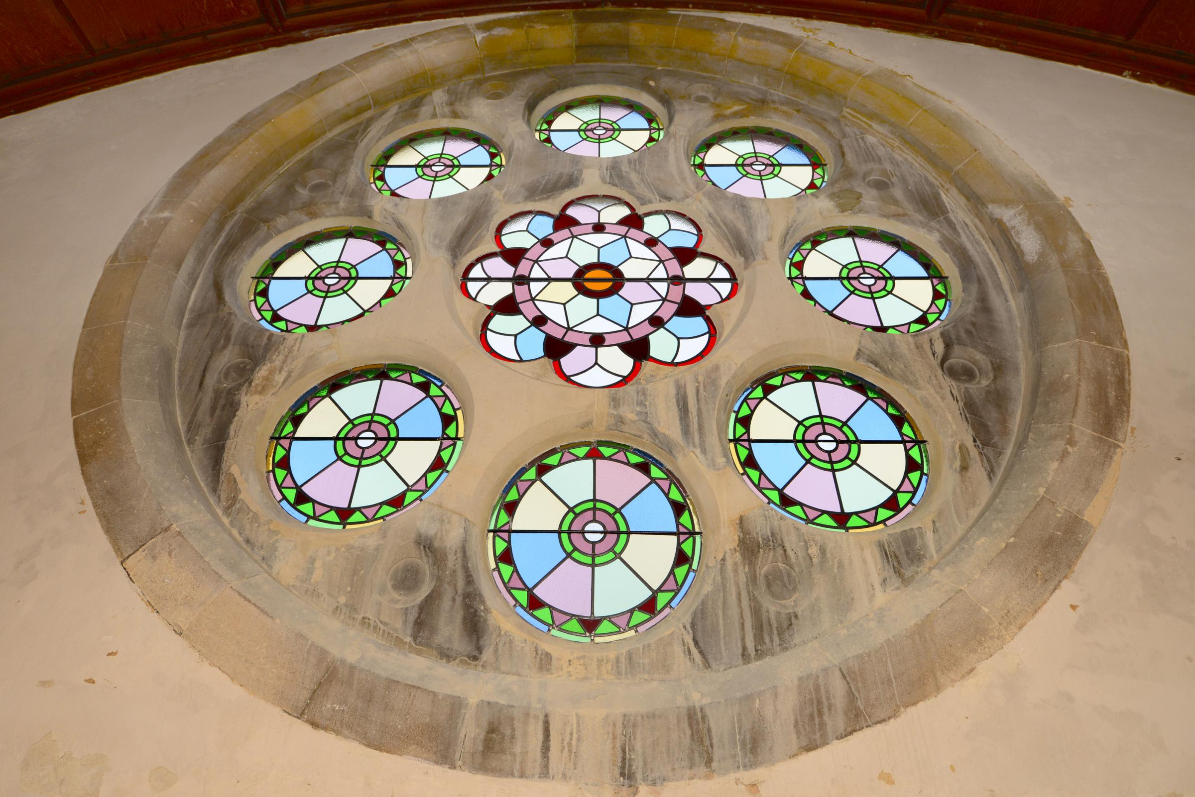 Church stained glass window revealed after restoration